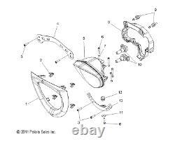 Polaris Headlight Bezel, Genuine OEM Part 5437555-156, Qty 1