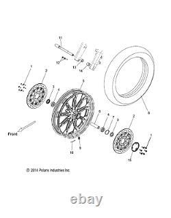 Polaris Wheel Cast, Front, 21 x 3.5, Cruiser Black, Genuine OEM Part 1522247-266