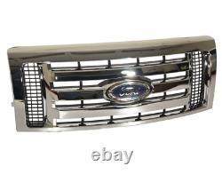 (1) Oem Genuine Ford 2009-2014 F-150 Chrome 3-bar Grille Avec Emblem 9l3z8200d