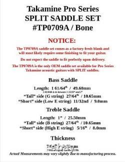 Takamine Pro Series Split Saddle / Véritable Pièce D'oem / Bone Inachevée -tp0709a