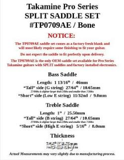 Takamine Pro Series Split Selle / Véritable Oem / Inachevée Bone -tp0709ae